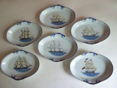 LOT OF 6 MOTTAHEDEH PORTUGAL VISTA ALEGRE US MARITIME SHIP OVAL SIDE DISH TRAY
