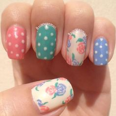 Pastel dotty nails with floral