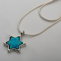 Shablool Israel STERLING SILVER 925 10mm opal blue pendant necklace