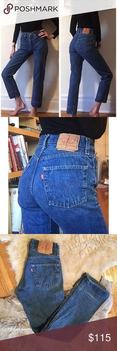 """🍁Vintage 501 Medium Wash Levi's 26🍁 Amazing and GORGEOUS medium wash vintage 501 Levi's! 26"""" waist, 10.5"""" rise, 30"""" inseam! Great quality denim and these actually hug your butt! They have awesome vintage wear and fading! Well loved, but still in great vintage condition. Upon purchase, I can cut off and fray the hem to any measurement if you'd like. Seriously BEAUTIFUL jeans!! Always cheaper on ♏️! Levi's Jeans"""