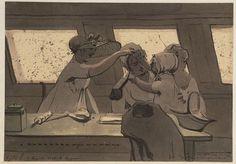 7 julij. Een groepje in de Weesperschuit Drie vrouwen en een klein meisje in de Weesper trekschuit. Ze zingen een kinderliedje.