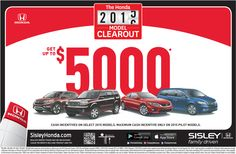 The Honda 2015 Model Clearout - Cash Incentive From Sisley Honda