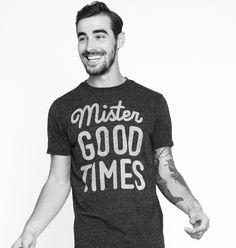 Mister good times! Ultrasoft charcoal triblend crewneck t-shirt.