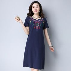 c0aeca2d287b MIWIMD Plus Size Women Summer Dresses 2017 New Fashion Casual Loose  Embroidered V-neck Short sleeve Vintage Cotton Linen Dress