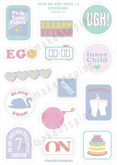 BTS Sticker sheet - Map of the soul : 7 Pop Stickers, Tumblr Stickers, Printable Stickers, Free Printable, Kpop Diy, Bts Merch, Journal Stickers, Bts Drawings, Aesthetic Stickers
