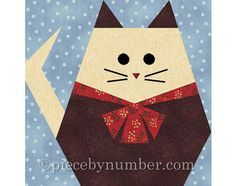 Fat Cat quilt block paper pieced quilt by PieceByNumberQuilts