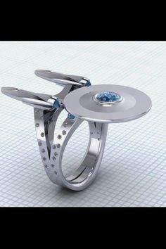 Star Wars and Star Trek Diamond Rings. Many items are coming from science fiction popular movies and sagas such as Star Wars and Star Trek. Star Trek Enterprise, Star Trek Starships, Enterprise Ship, X Wing Star Wars, Geeks, Star Trek Ring, Star Trek Tattoo, Star Ring, Bijou Geek