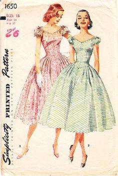 Vintage prom dress sewing pattern