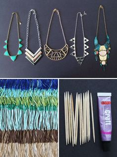 What might make your favorite statement necklace even more awesome? Fringe! Grab yourself a handful of cute and affordable statement necklaces from places like Urban Outfitters, Forever 21, and H&M and take them to a way more chic level by way of… fringe! The best part? Each of these necklaces took less than 5 minutes to make.