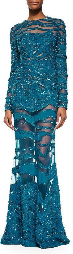 Elie Saab Beaded Sheer-Inset Lace Gown, Capri Blue • Elie Saab • $13,995