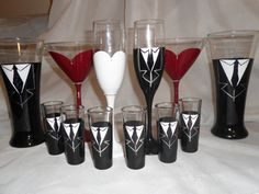 Hand painted wedding glasses for whole wedding party or just bride and groom by Melanie Duspiwa for   Memorable Moments by Mel @ www.mmbymel.com