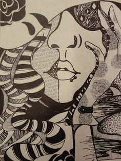 """Art Mash - """"This pen & ink drawing project is really doodles on steroids! I made some worksheets with various patterns for the students to work from so they could practice prior to beginning their large pen & ink doodle."""" - Students picked their own subject matter"""