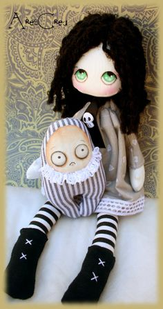 Raven handmade gothic cloth doll with monster friend by AresCrea,