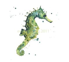 """""""Green Seahorse"""" watercolor by Alison Fennell of """"East Witching"""" Etsy shop  ~  nautical ocean sea creature beach"""