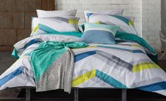 https://flic.kr/p/PQEWi1 | Ryley Quilt Cover Set by KAS ROOM | A bold, overlapping zig zag print in casual calm tones, Ryley is a modern take on the traditional chevron pattern. www.beddingsquare.com.au/ryley-quilt-cover-set-kas-room-p...