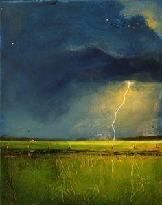 Lightening Farm Landscape with Barn - Toni Grote - acrylic on wood panel