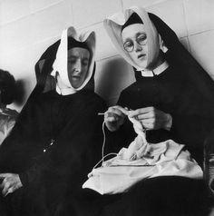 Nuns knitting - Eastbourne, England, UK