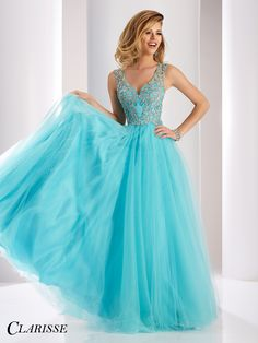 Clarisse 2017 prom dress 3019. Sparkly v neck ball gown prom dress in fun aqua color   Promgirl.net