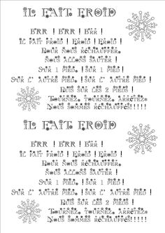 L'HIVER - NOËL - LA GALETTE Bullet Journal, Math Equations, Galette, Words, Montessori, Kids Songs, Rhymes Songs, Winter, Index Cards