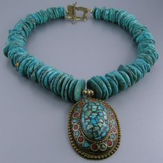 Turquoise Magnesite Disc Bead Nepalese Pendant Necklace
