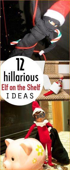 12 Hilarious Elf on the Shelf Ideas.  Magical Elf on the Shelf disguises and hiding places.  Easy Elf on the Shelf Ideas.