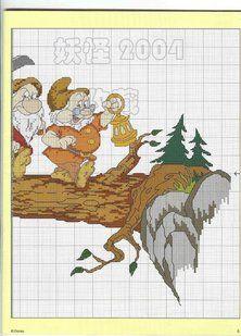 Solo Patrones Punto Cruz 4/4 Snow White 7 Dwarfs
