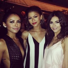 Zendaya with Kat Graham & Victoria Justice at the Max Mara Women in Film party tonight
