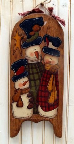Hand Painted Snowman Sled Pine Wood Wall Decor by KatarinaM Primitive Christmas, Christmas Snowman, Winter Christmas, Christmas Ornaments, Snowman Crafts, Christmas Projects, Holiday Crafts, Primitive Painting, Tole Painting