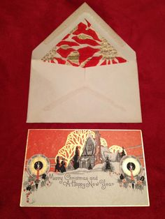 """Fine unused Art Deco Christmas card and lined envelope. Beautifully printed with gold highlights on both the card and the envelope. Card measures slightly over 3"""" x 5"""". A beautiful piece of art! 