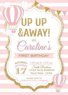 First Birthday. on Etsy Vintage Birthday Parties, First Birthday Parties, Birthday Ideas, Baby Shower Balloons, Birthday Balloons, Baby Shower Invitations, Birthday Invitations, Balloon Invitation, Girl First Birthday