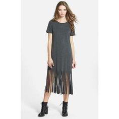 Women's Missguided Fringe T-Shirt Dress, Size 6 - Grey #dress #offduty #women #covetme