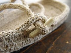 Items similar to One rope sandal tutorial, earthing shoes, hemp rope sandals, natural footwear for children on Etsy Crochet Rope, Crochet Shoes, Hot Glue Art, French Shoes, Rope Sandals, Narrow Shoes, Earth Shoes, Hemp Jewelry, Rope Crafts