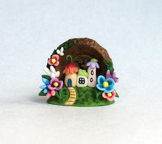 Miniature Whimsical Blossom Fairy Houses Hideaway OOAK by C. Rohal