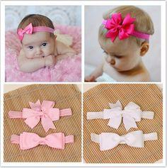 2pcs/ set hair elastic bands ribbon bows kids infant baby girls headwear accessories headbands satin flower hairband headwrap