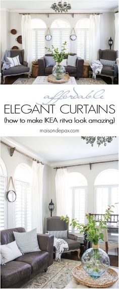 Curtains Ideas curtain rod roman shades : IKEA ritva curtains over bamboo roman shades, dark curtain rod ...