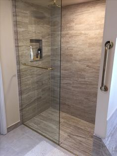 Curbless shower with trench drain Bathroom Layout, Bathroom Interior Design, Bath Remodel, Kitchen Remodel, Small Toilet Design, Trench Drain, Stone Bathroom, Building Design, Modern Design