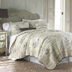 Levtex Histoire PARIS FRANCE FRENCH 3pc KING Quilt ~ French Country Gray Ivory | eBay