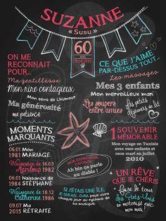 Affiche personnalisée anniversaire pour adulte Bord de mer (corail) | 35,00$ #chalkboard #lacraieco