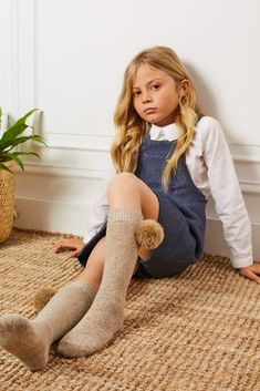 Girls Everest knee-high socks with faux fur pompom Girls Sports Clothes, Preteen Girls Fashion, Young Girl Fashion, Kids Outfits Girls, Little Girl Fashion, Kids Fashion, Girl Outfits, Little Girl Models, Cute Little Girl Dresses
