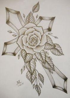Bold Cross w/Rose - Tatouage Crucifix, Crucifix Tattoo, Rosary Bead Tattoo, Rose Heart Tattoo, Rose Tattoos, Cross Tattoo Designs, Tattoo Design Drawings, Chicano Art Tattoos, Body Art Tattoos