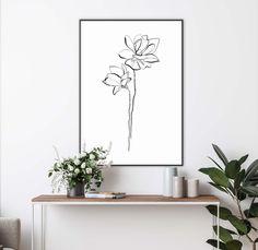 One Line Flower Minimalist Art Floral Black and White Print   Etsy Line Art Flowers, Line Flower, Flower Art, Wall Art Prints, Poster Prints, Abstract Portrait, Minimalist Art, Custom Posters, Botanical Prints