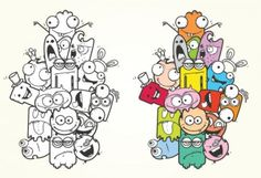 with and without colors Cute Doodle Art, Cool Doodles, Doodle Art Designs, Doodle Art Drawing, Drawing For Kids, Mini Drawings, Art Drawings, Cute Halloween Drawings, Cute Vector