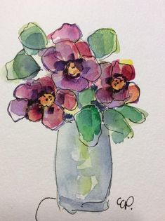 Blooms Watercolor Card/ Hand Painted Watercolor Card