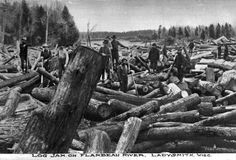 Log Jam on the Flambeau River | Photograph | Wisconsin Historical Society. Ladysmith, Rusk Co. Carl Jung photo date unknown