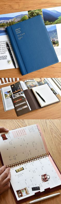 Once you open the cover, you will see various functions of this planner! The useful planning pages are bounded by spiral for convenient use, and 1 open pocket, 3 card slots, and 3 pen holders are attached to make it super functional!