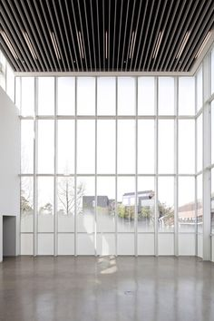 blade ceiling with linear lighting between, glazing with fog-like frit | White Block Gallery by SsD