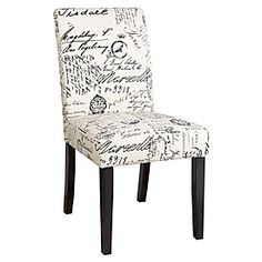 Dining Chair, Script Fabric...love this mixed in with some brown leather dining chairs