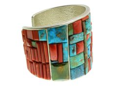 NAVAHO MONTY CLAW TURQUOISE CORAL INLAY CUFF