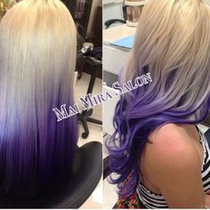 blonde n  purple ombre love this hair color