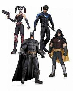 Arkham City Harley Quinn, Batman, Nightwing and Robin Action Figure 4-Pack #batman #arkhamcity alteregocomics.com
